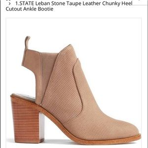 "1.State taupe ""Leban"" cutout ankle boot, size 7.5"